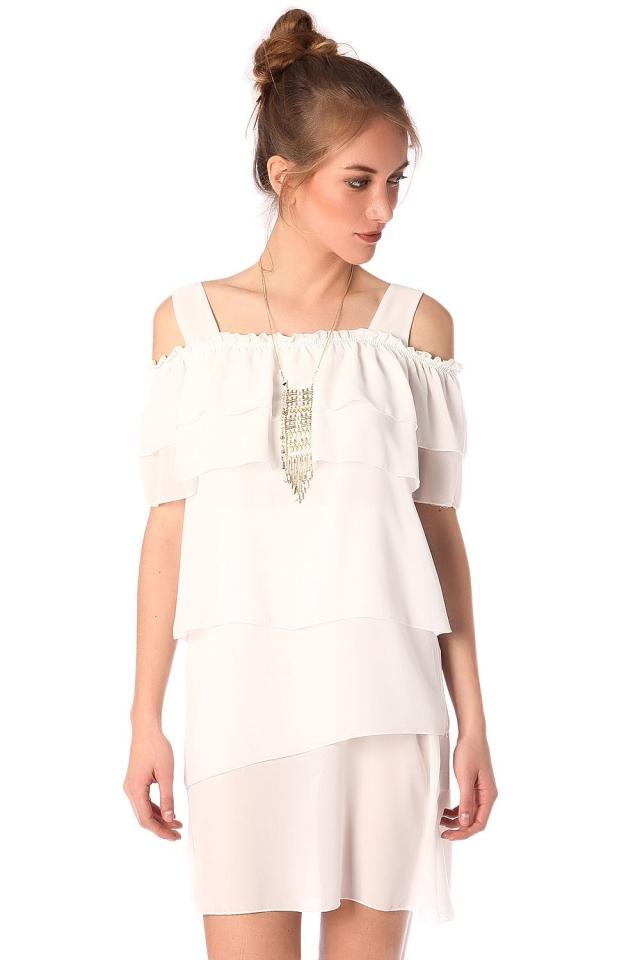 Mini vestido com multi camadas em branco