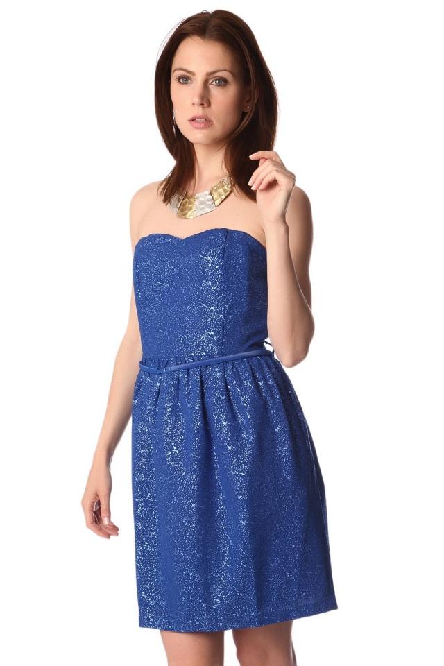 Vestido de festa elétrica honra palavra azul