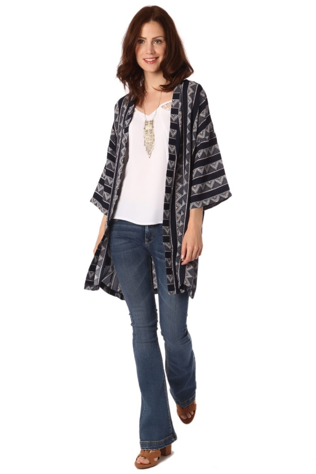 Navy blue tribal kimono with cropped sleeves