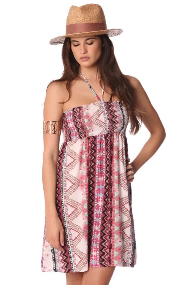 Vestido sem alças com asteca impressão e suspensórios halterneck