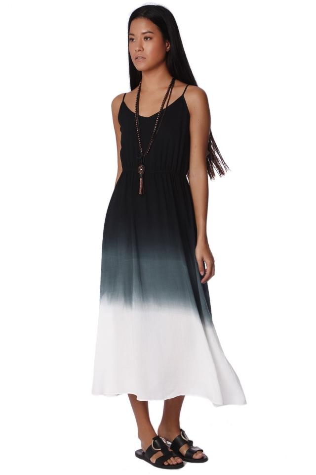 Vestido longo sem alças com gradiente cinza tingidos