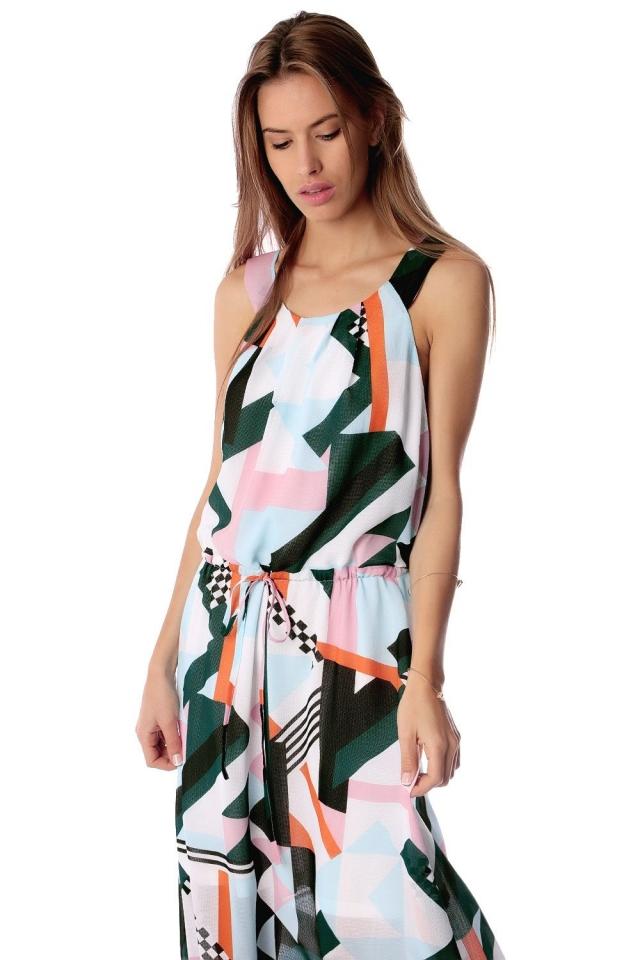 Vestido longo com impressão abstrato e elástico na cintura