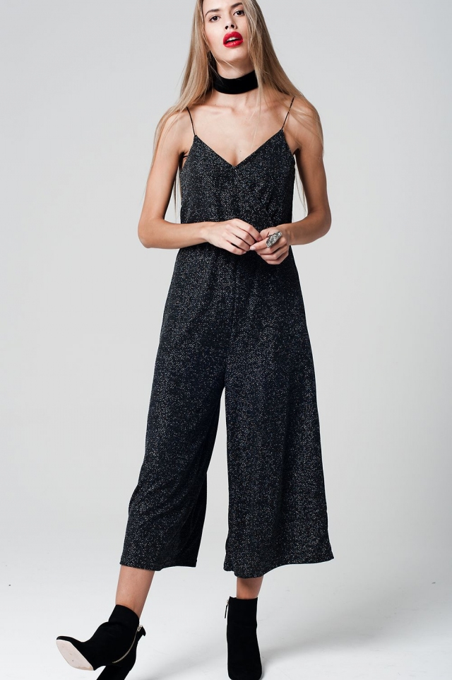 Black Jumpsuit tecido metálico with Culotte Leg