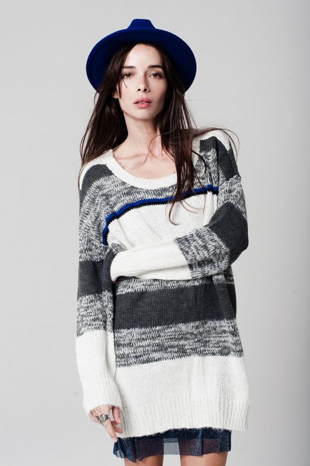 Grey Stripe Chunky Knit Sweater