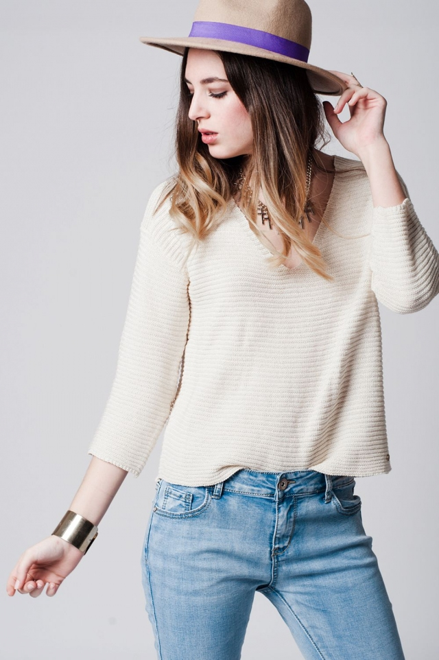 Cream trim back top in textured sweat