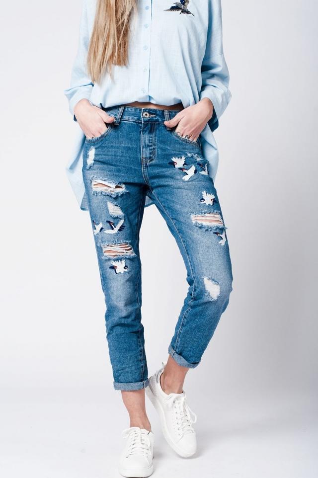 blue wash jeans Bird Print