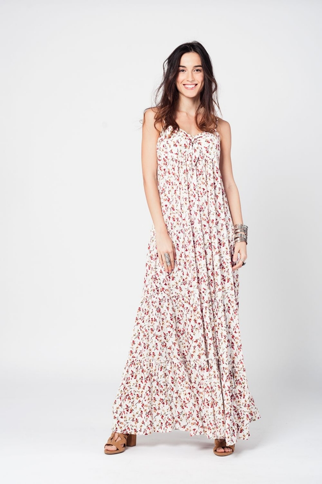 Cream maxi dress with floral print