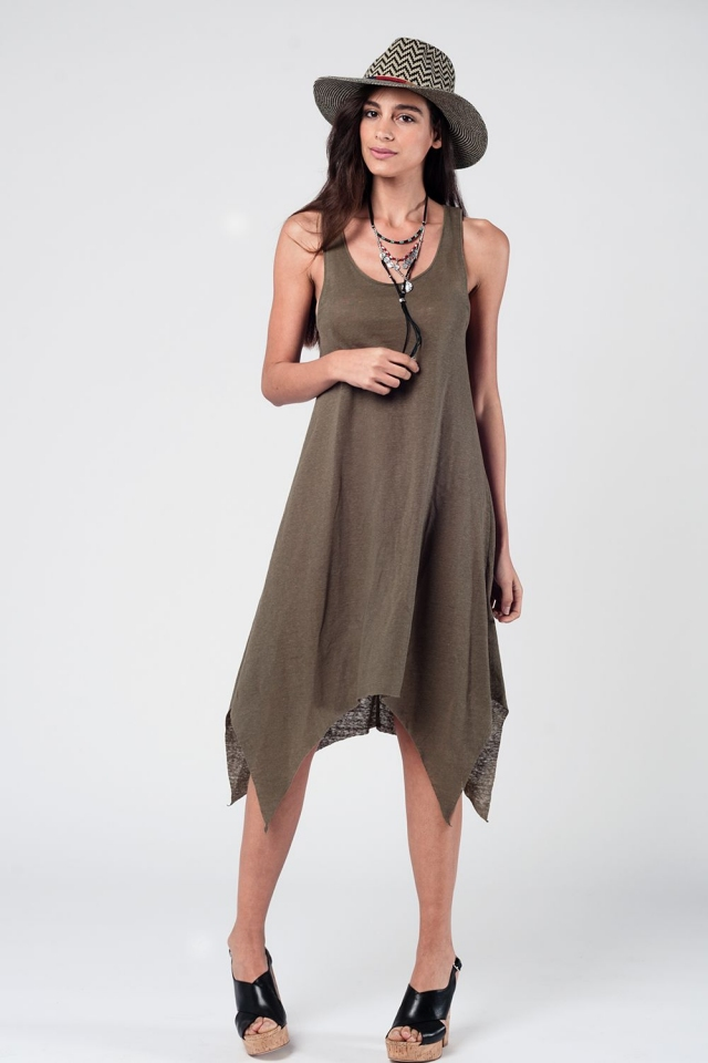 Khaki Sun Dress With Dipped Hem