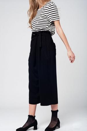 Preto culotte com laço cintura