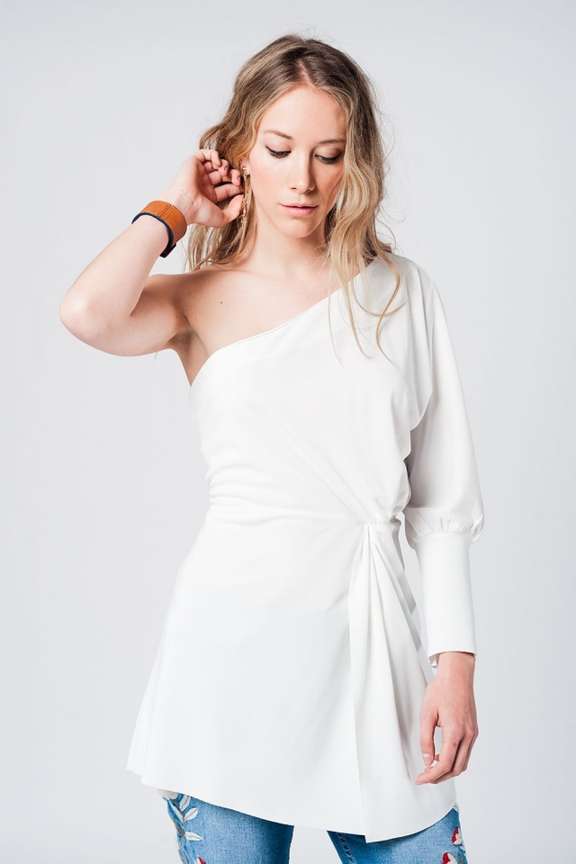 One shoulder asymmetric white mini dress