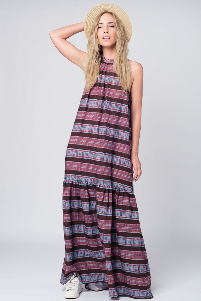 Halter maxi dress in navy print