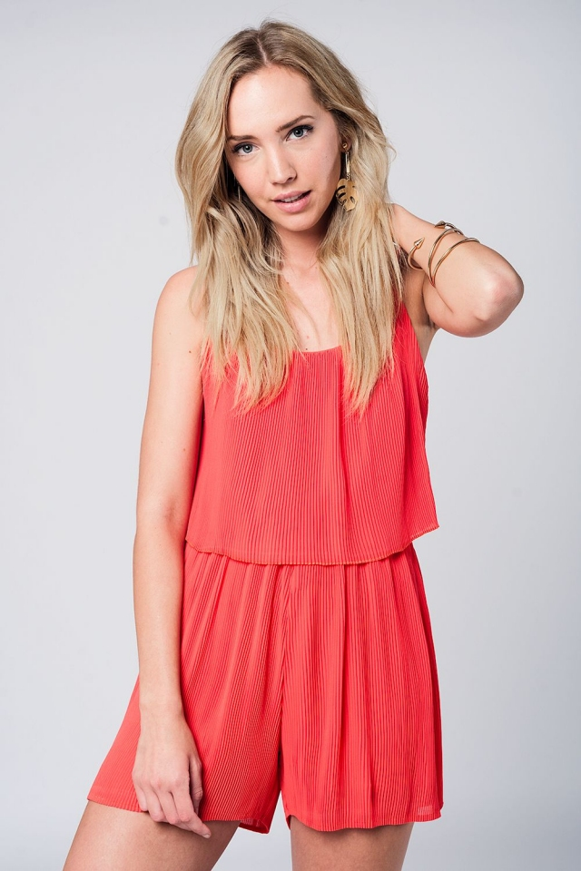 Red pleated layered sleeveless romper