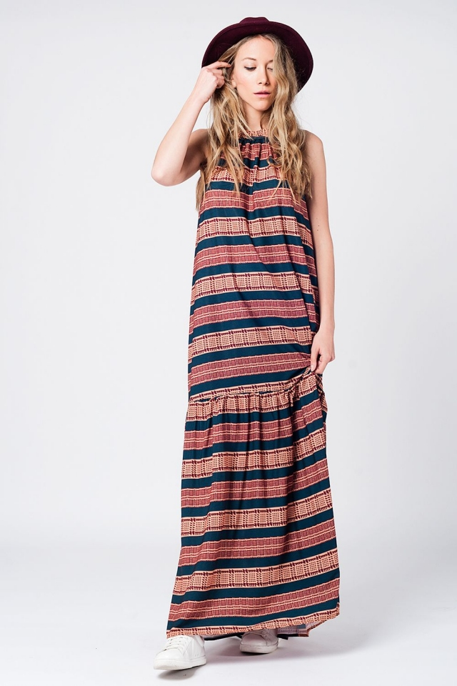 Halter maxi dress in orange print