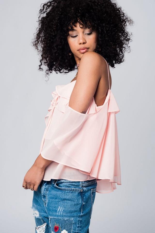 Light pink cold shoulder top
