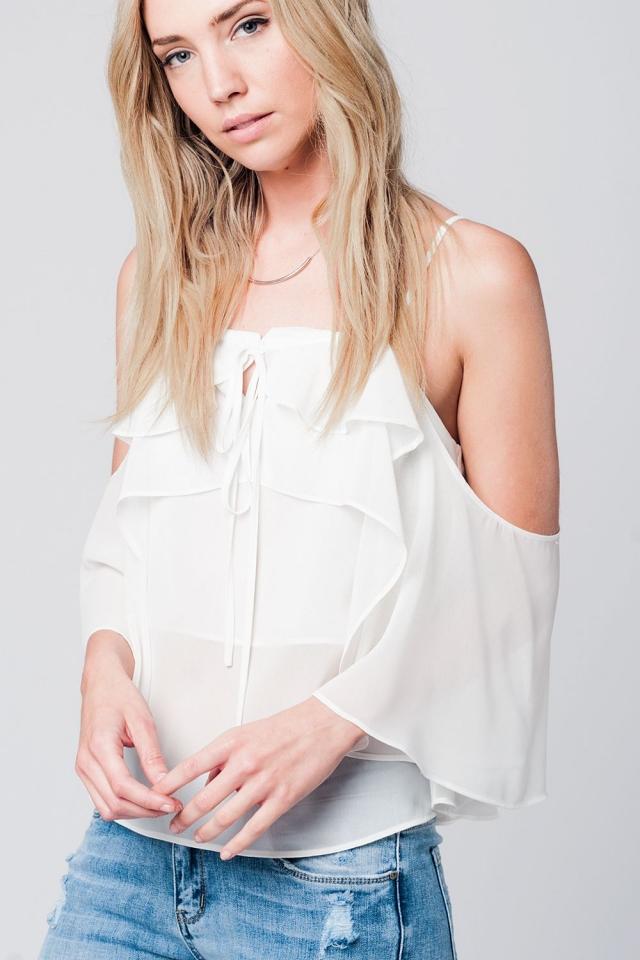 Cream cold shoulder top
