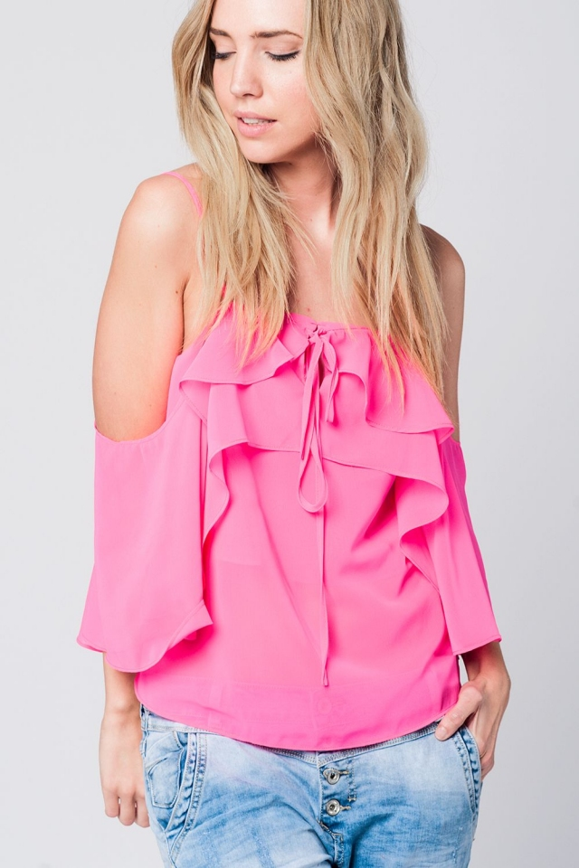 Fuchsia cold shoulder top