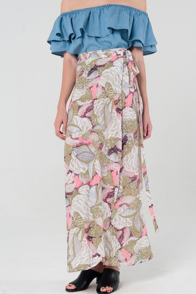 Floral wrap maxi skirt in pink and yellow flowers
