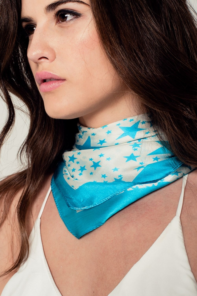 Silk scarf in turquoise star print