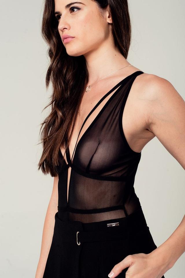 Bodysuit preta rede com alças finas