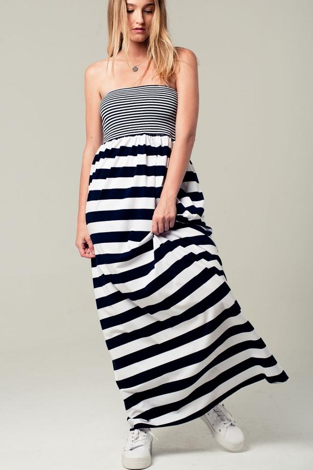 Bandeau vestido maxi listrado azul marinho