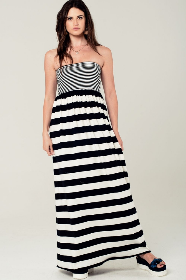 Black stripe bandeau maxi dress