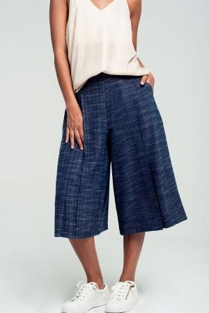Calças culotte azul marinho com estampa
