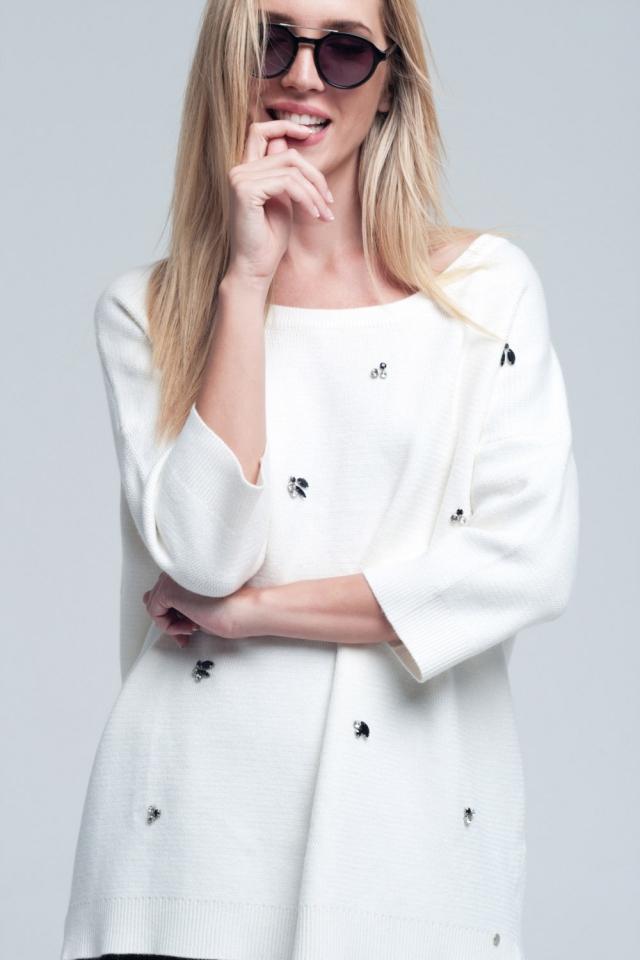 Camisa branca assimétrico com detalhes diamante e costas nuas