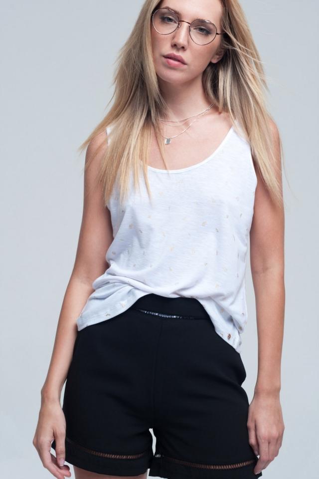 T-shirt sem mangas branco com detalhe impresso
