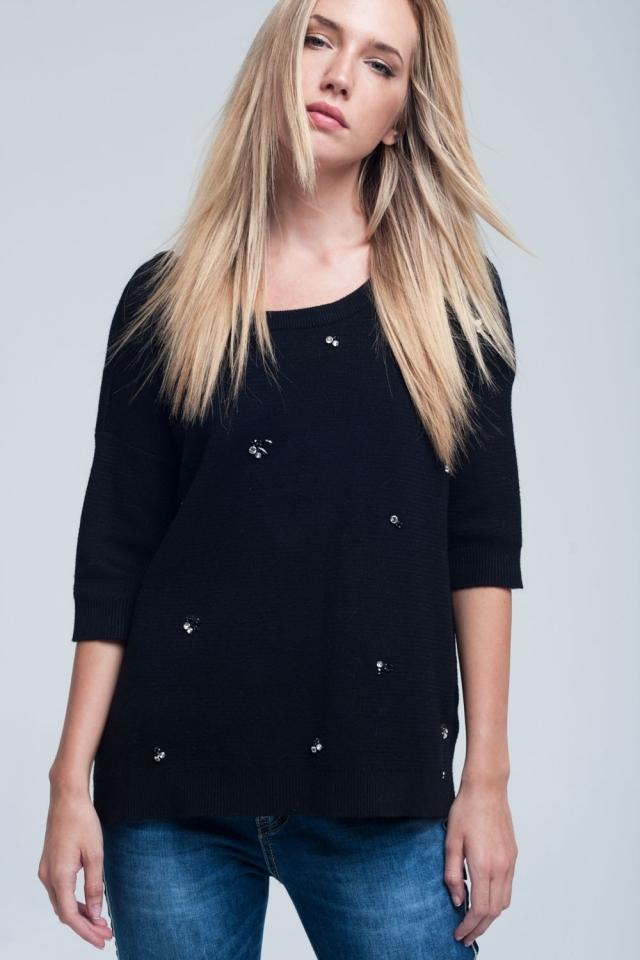 Camisa preta assimétrico com detalhes diamante e costas nuas