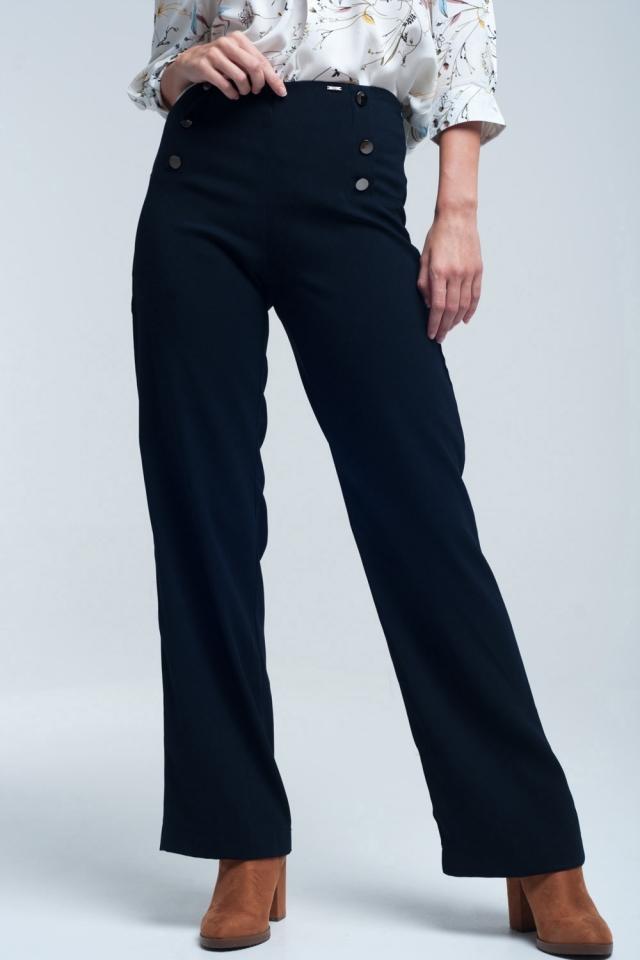 Calças estilo marinheiro da marinha com grandes botões na frente