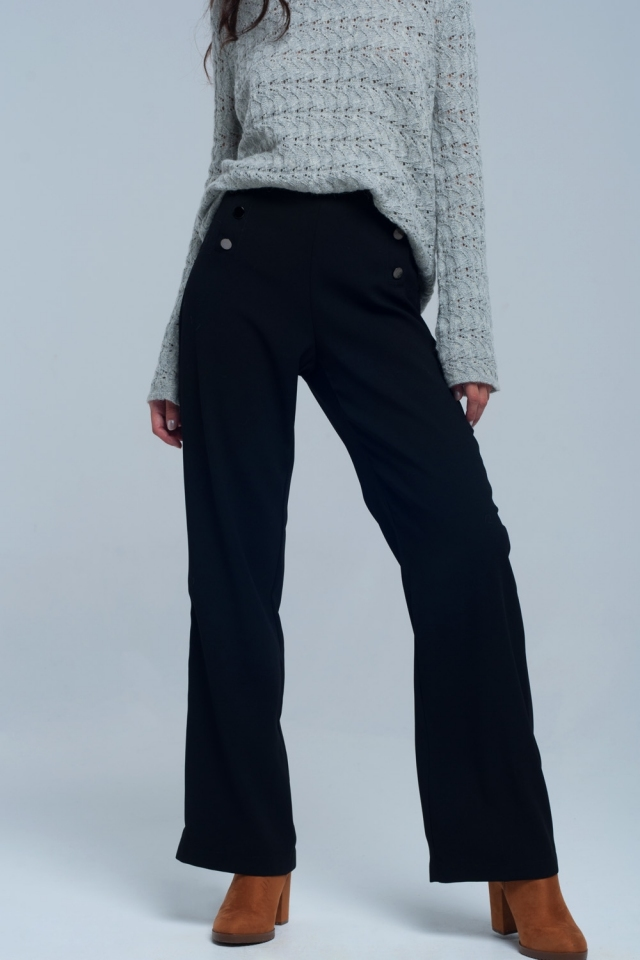 Black straight cut pants with buttons detail