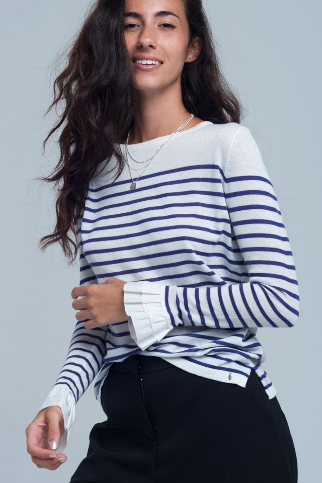 Purple striped white shirt in wool mix