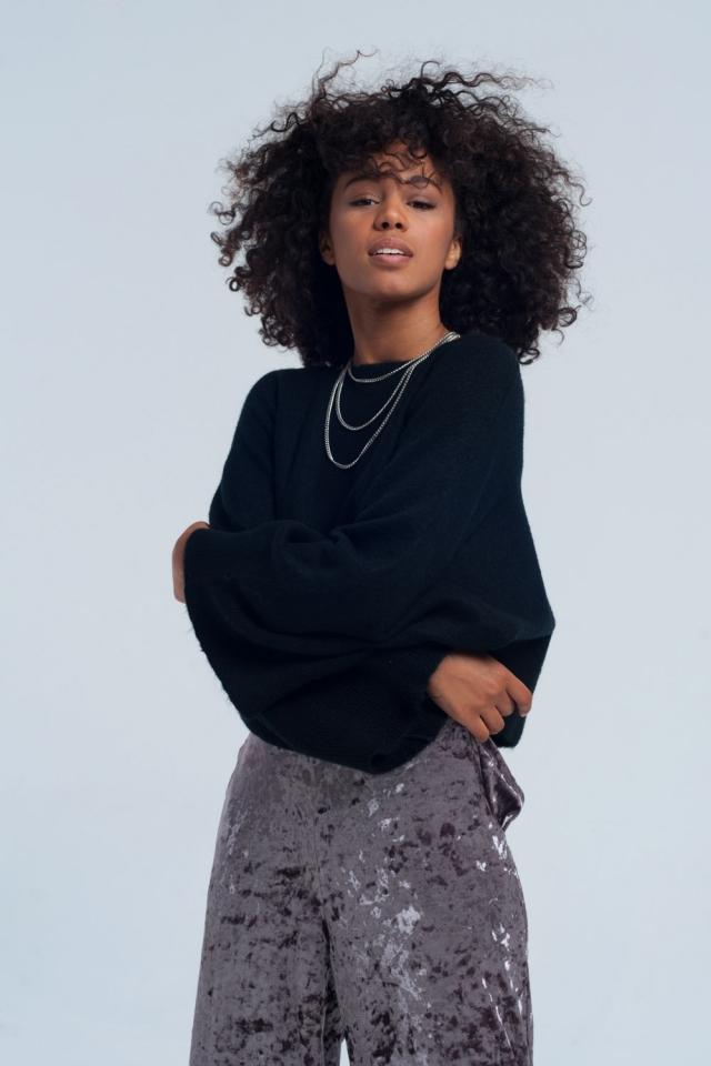 Suéter de corte em preto