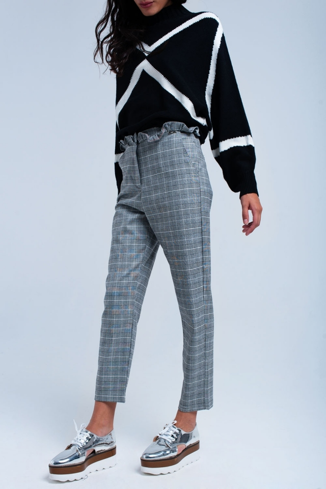 Gray tartan pattern pants