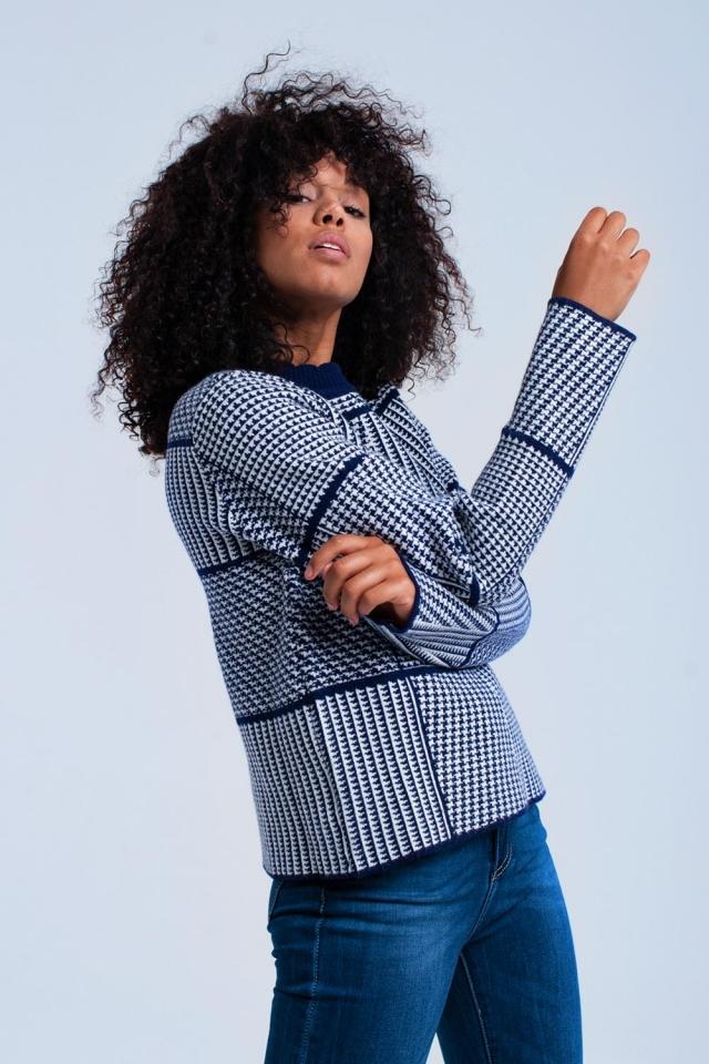 Camisola texturizada azul marinho