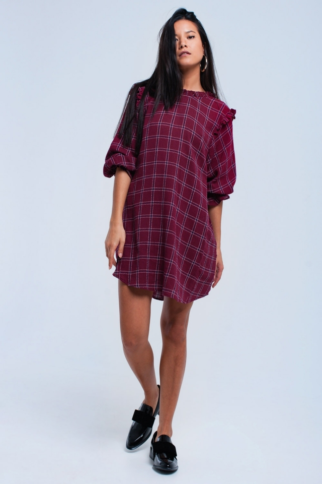 Bordeaux checked dress