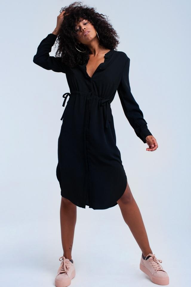 Vestido midi preto com laços