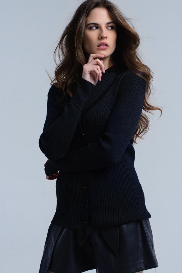 Cardigan com nervuras preto com top
