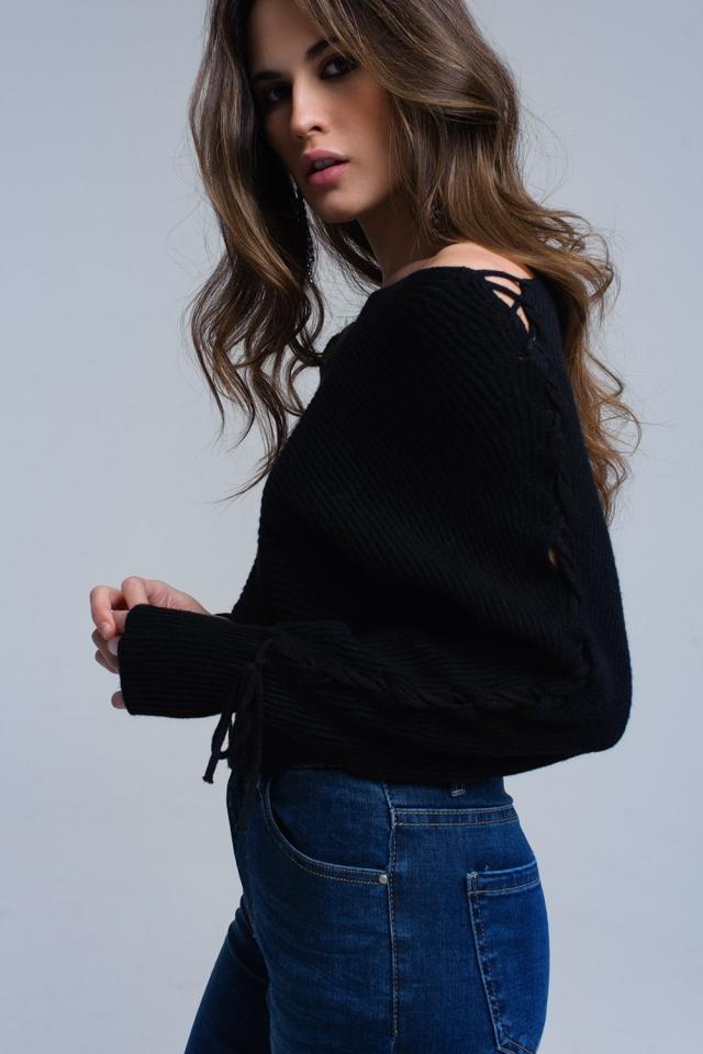 Camisola corte preto com fitas