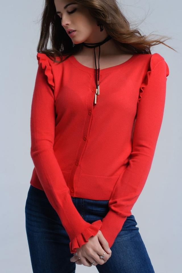 Cardigan vermelho com detalhes de babados