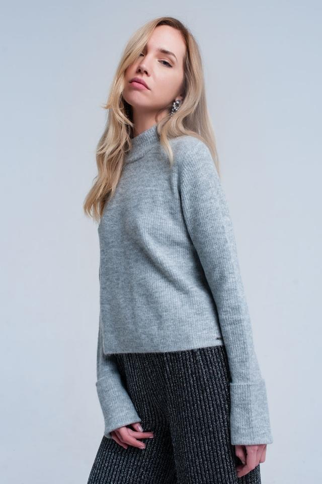Camisola curta cinza