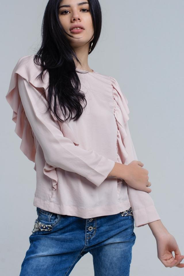 Top com detalhe de ruffle em rosa pálido