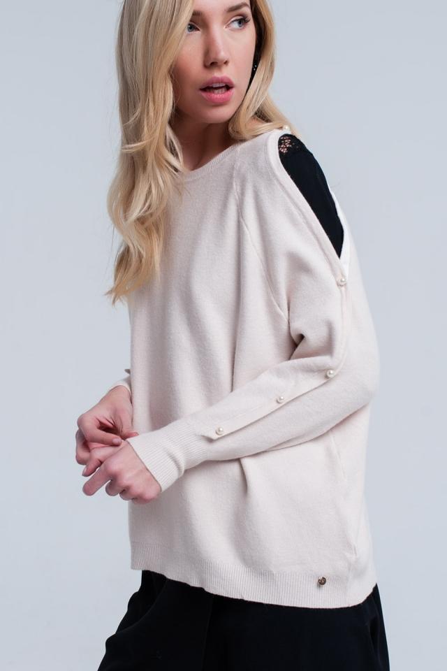 Suéter de malha rosa pálido com detalhe de pérola