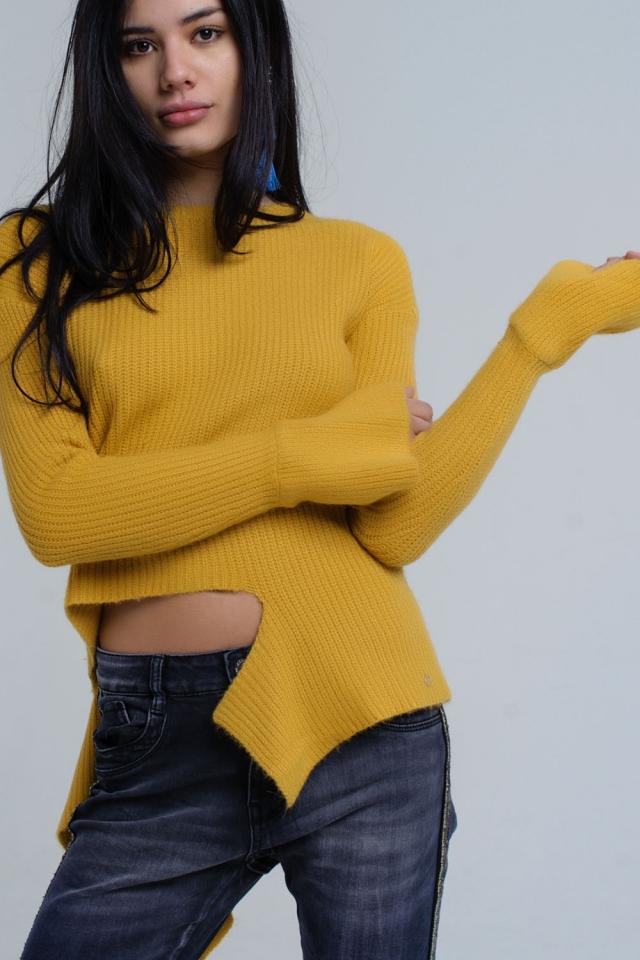 Camisola de mostarda assimétrica de malha