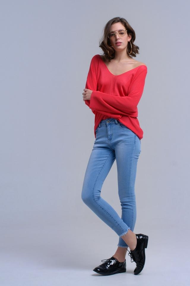 Calça skinny azul claro com franjas