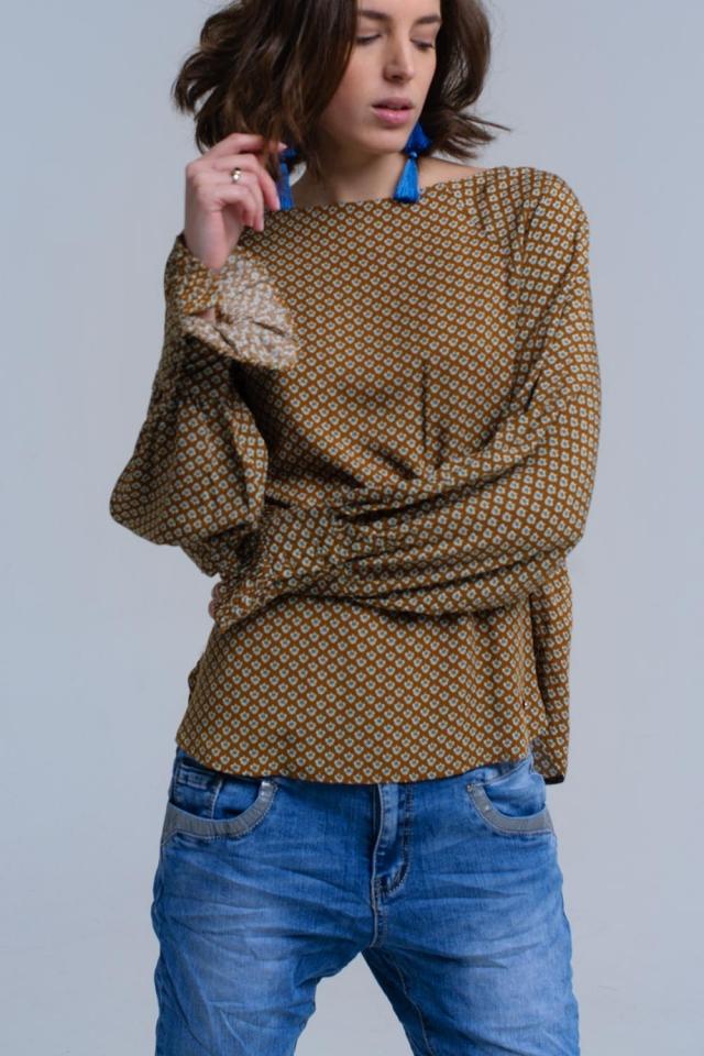 Camisa impressa de mostarda com punhos com babados