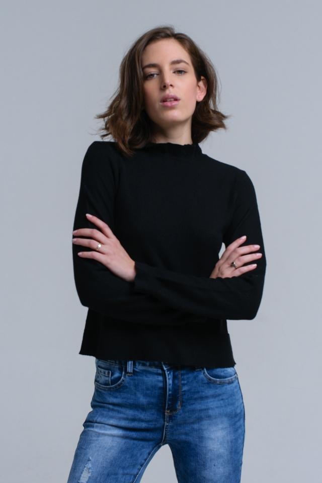 Camisola com babados em cor preto