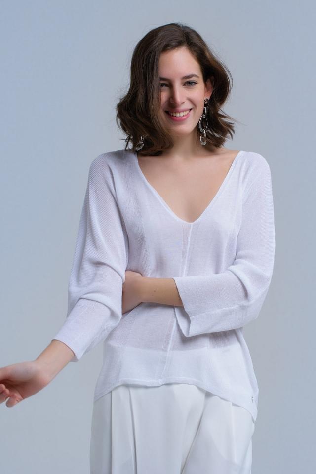 Suéter assimétrico branco