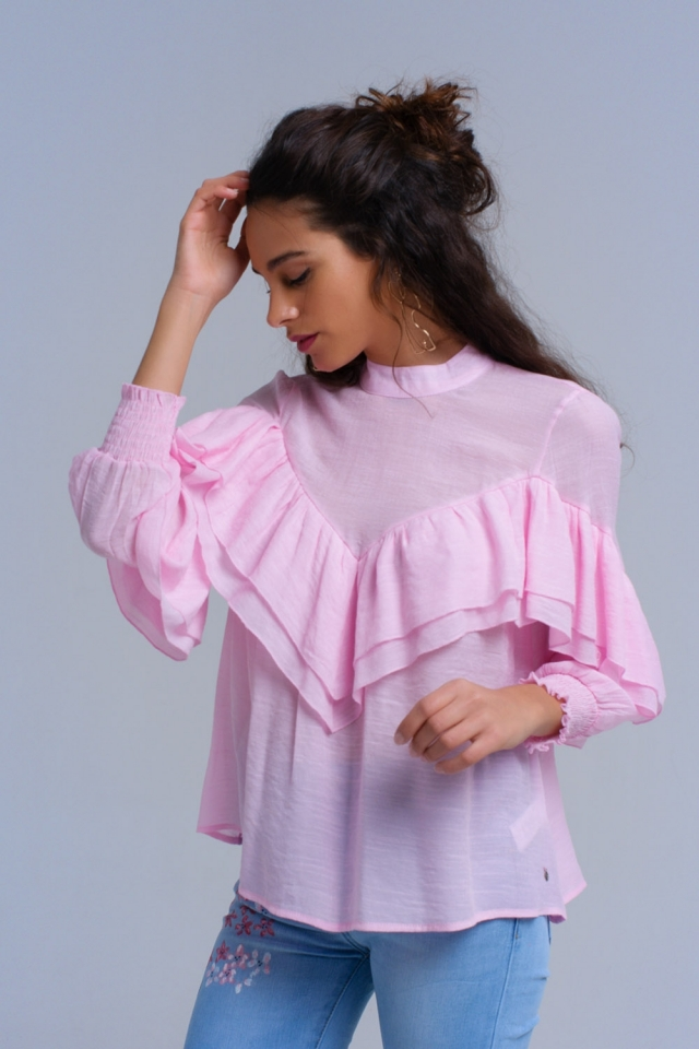 Camisa cor-de-rosa com punhos elásticos e babados