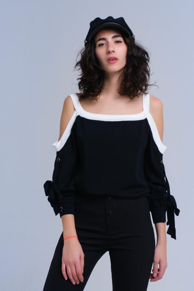 Suéter de ombro frio preto com anéis